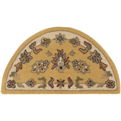 Shapes Gold/Ivory Border and Traditional Floral Rug Rug Size: 23 x 310