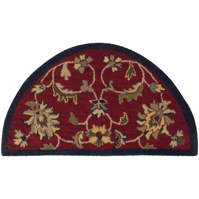Shapes Red/Navy Border and Classic Floral Rug Rug Size: 23 x 310