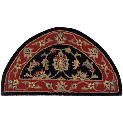 Shapes Black/Red Border Rug Rug Size: 23 x 310