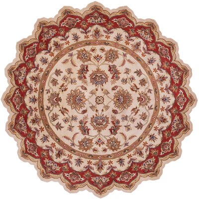 Shapes Ivory/Red Persian Rug Rug Size: Novelty 5 x 5