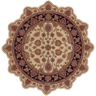 Shapes Persian Ivory/Black Area Rug Rug Size: Novelty 5 x 5