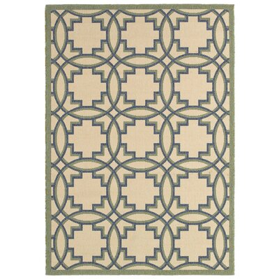Lanai Cream /Green Indoor/Outdoor Area Rug Rug Size: 5 x 8