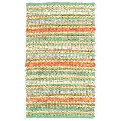 Dhurry Orange & Blue Area Rug Rug Size: 5 x 8