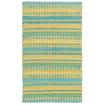 Dhurry Hand-Tufted Cotton Blue & Yellow Area Rug Rug Size: 5 x 8