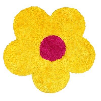 Senses Shag Yellow Flower Area Rug Rug Size: Flower 4'