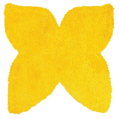 Senses Shag Butterfly Yellow Area Rug Rug Size: Butterfly 5 x 5