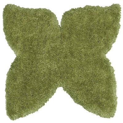 Senses Shag Butterfly Green Area Rug Rug Size: Butterfly 5' x 5'