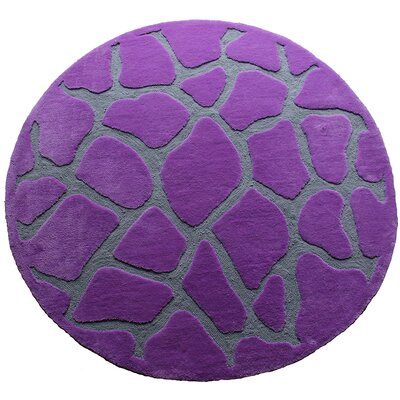 Fashion Purple Giraffe Area Rug Rug Size: Round 5