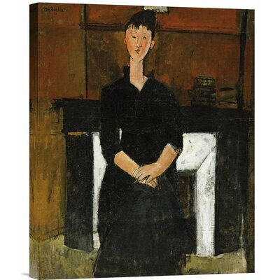 Woman Sat By a Fireplace by Amedeo Modigliani Painting Print on Wrapped Canvas GCS-266893-22-142