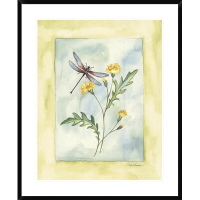Dragonfly with Yellow Flowers by Paige Houghton Framed Painting Print DPF-112302-2432-266