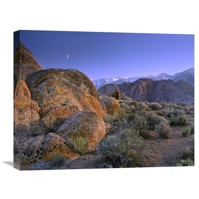 Nature Photographs Crescent Moon Rising Over Sierra Nevada Seen From Alabama Hills, California by Tim Fitzharris Photographic Print on Canvas Size: 20