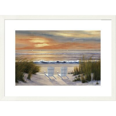 'Coastal Paradise Sunset' by Diane Romanello Framed Painting Print Size: 24