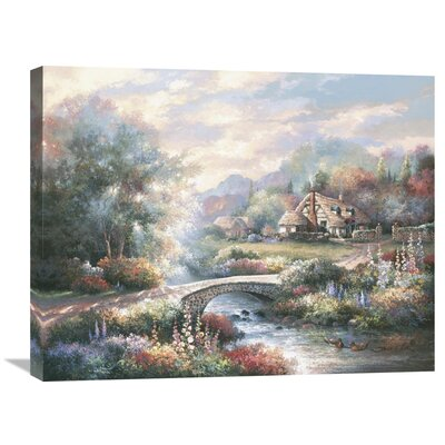 'Country Bridge' by James Lee Original Painting on Wrapped Canvas Size: 22