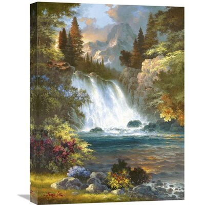 'Sunrise Falls' by James Lee Painting Print on Wrapped Canvas Size: 24
