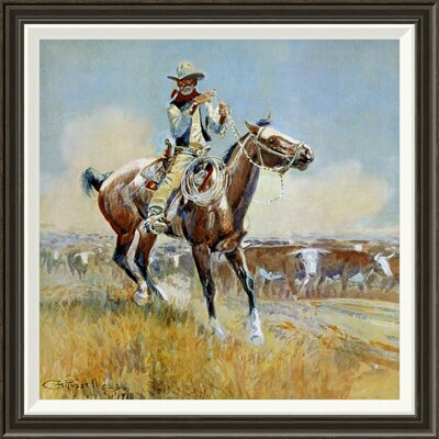 """'Beef for the Fighters' by Charles M. Russell Framed Painting Print Size: 28"""" H x 28"""" W x 1.5"""" D GCF-133413-2424-283"""