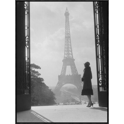 'Woman Looking Toward Eiffel Tower' by H. Armstrong Roberts Framed Photographic Print Size: 32