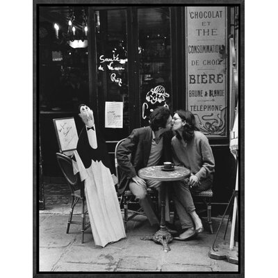 'Kissing at Cafe Table, Paris' by Peter Turnley Framed Photographic Print Size: 16
