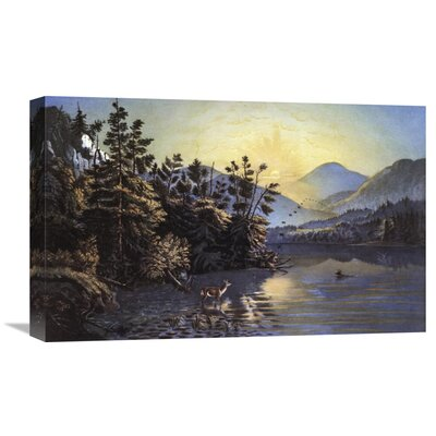 'Sunrise On Lake Saranac' by Currier and Ives Painting Print on Wrapped Canvas GCS-277216-22-142