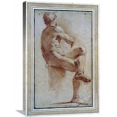 'A Male Nude Seated with His Back Turned' by Annibale Carracci Graphic Art on Wrapped Canvas GCS-264675-30-142