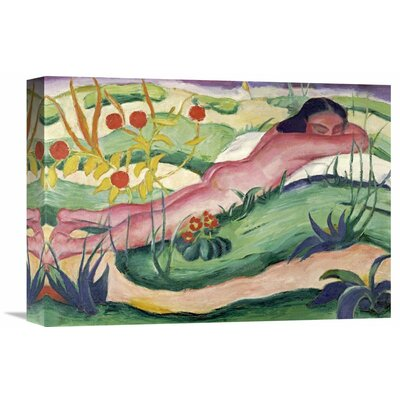 'Nude Lying in the Flowers' by Franz Marc Painting Print on Wrapped Canvas GCS-265157-16-142