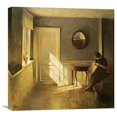 'A Girl Reading in an Interior' by Peter Ilsted Painting Print on Wrapped Canvas GCS-266615-16-142