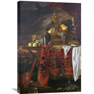 'A Basket of Mixed Fruit with Gilt Cup' by Jan Davidsz De Heem Painting Print on Wrapped Canvas GCS-264784-22-142