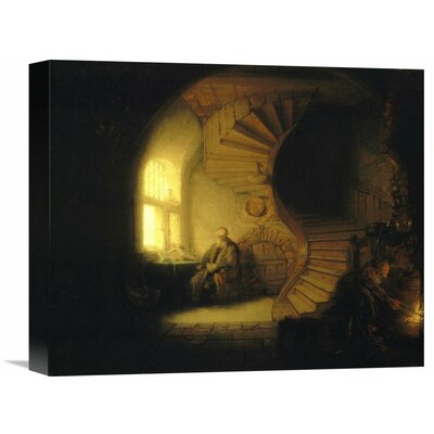 'Philosopher in Meditation' by Rembrandt Van Rijn Painting Print on Wrapped Canvas