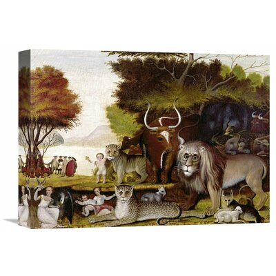'The Peaceable Kingdom (I)' by Edward Hicks Painting Print on Wrapped Canvas Size: 22.14