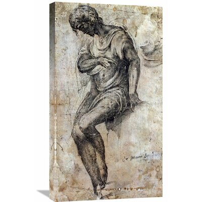 'A Man Seated on a Ledge' by Alonso Berruguete Graphic Art on Wrapped Canvas GCS-264603-30-142