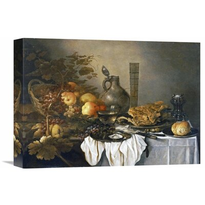 'A Still Life with a Roemer, Oysters, a Roll and Meat' by Pieter Claesz Painting Print on Wrapped Canvas GCS-264730-16-142