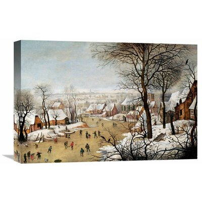 'A Winter Landscape with Skaters and a Bird Trap' by Pieter Bruegel the Elder Painting Print on Wrapped Canvas GCS-266006-22-142