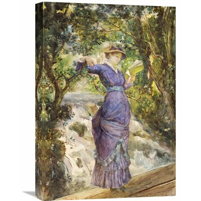 'Girl Reading By a Waterfall' by Maria Konstantinovna Bashkirtseva Painting Print on Wrapped Canvas GCS-265908-22-142