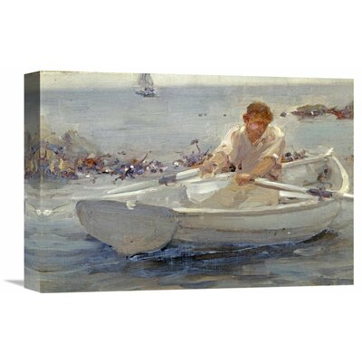 'Man in a Rowing Boat' by Henry Scott Tuke Painting Print on Wrapped Canvas Size: 15.29
