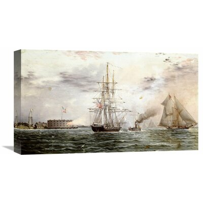 'New York Bay - Castle Clinton' by James E. Buttersworth Painting Print on Wrapped Canvas Size: 17.43