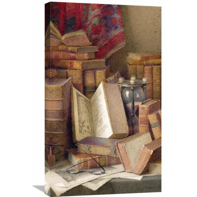 'Old Books to Read' by Frederick Spencer Painting Print on Wrapped Canvas