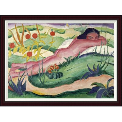 Nude Lying in The Flowers by Franz Marc Framed Painting Print GCF-265157-36-288