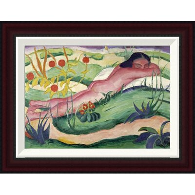 Nude Lying in The Flowers by Franz Marc Framed Painting Print GCF-265157-16-288