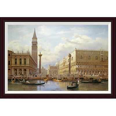 A View of The Piazzetta With The Doges Palace From The Bacino, Venice by Salomon Corrodi Framed Painting Print Size: 27.69
