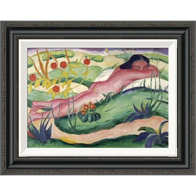 'Nude Lying in the Flowers' by Franz Marc Framed Painting Print GCF-265157-16-194