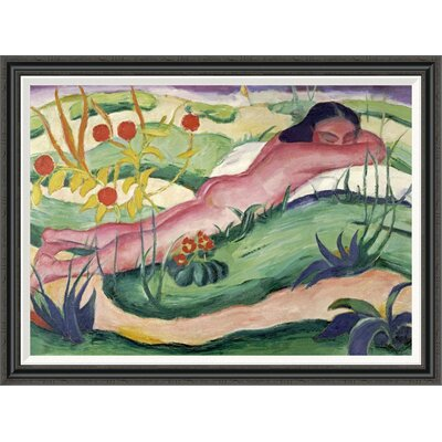 'Nude Lying in the Flowers' by Franz Marc Framed Painting Print GCF-265157-40-194