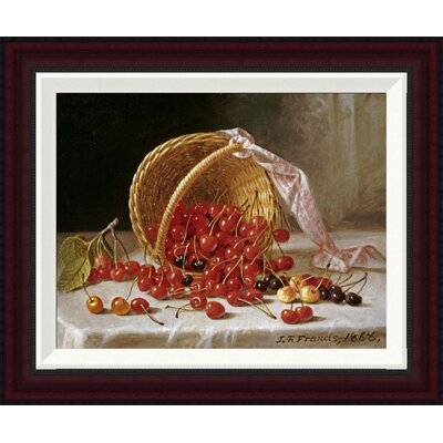 A Basket of Cherries by John F. Francis Framed Painting Print Size: 16.37