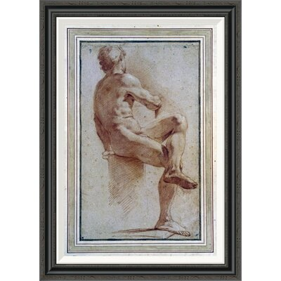 'A Male Nude Seated With His Back Turned' by Annibale Carracci Framed Painting Print GCF-264675-30-194