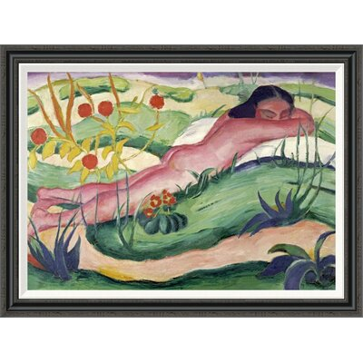 'Nude Lying in the Flowers' by Franz Marc Framed Painting Print GCF-265157-36-194