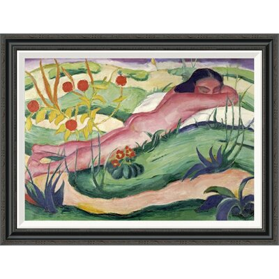 'Nude Lying in the Flowers' by Franz Marc Framed Painting Print GCF-265157-30-194