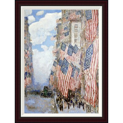 The Fourth of July, 1916 (The Greatest Display of the American Flag Ever Seen in New York, Climax of the Preparedness Parade in May) by Frederick Childe Hassam Framed Painting Print GCF-268060-30-288