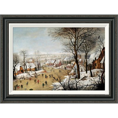 'A Winter Landscape With Skaters and a Bird Trap' by Pieter Bruegel the Elder Framed Painting Print GCF-266006-22-194