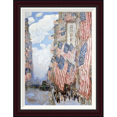 The Fourth of July, 1916 (The Greatest Display of the American Flag Ever Seen in New York, Climax of the Preparedness Parade in May) by Frederick Childe Hassam Framed Painting Print GCF-268060-22-288