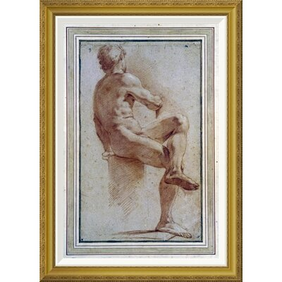 'A Male Nude Seated With His Back Turned' by Annibale Carracci Framed Painting Print GCF-264675-30-209