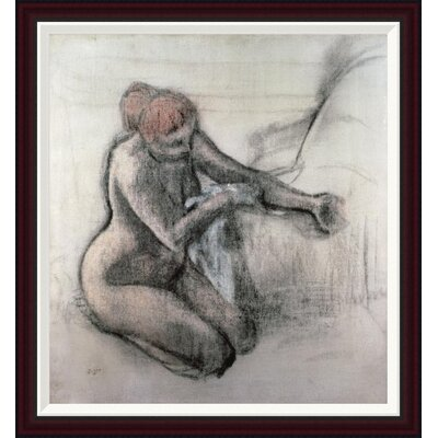 Nude Woman Drying Herself After The Bath by Edgar Degas Framed Painting Print GCF-277331-30-288