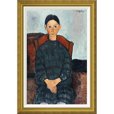 'Young Girl With a Black Apron' by Amedeo Modigliani Framed Painting Print